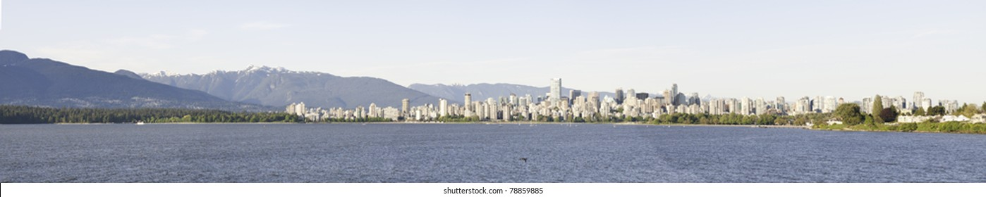 Panoramic water view of Vancouver.Stanley Park on the right side