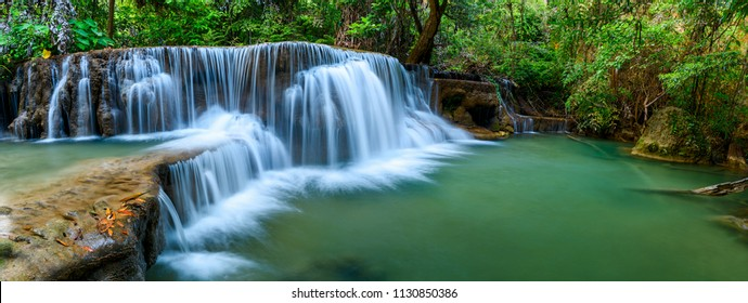 Panoramic waterfall in rainforest at National Park, Thailand.