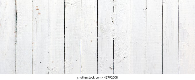 Panoramic weathered painted white wooden plank