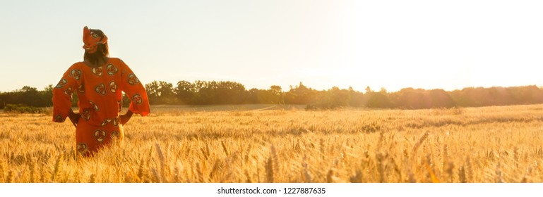 Panoramic web banner African woman in traditional clothes standing with her hands on her hips in field of barley or wheat crops at sunset or sunrise