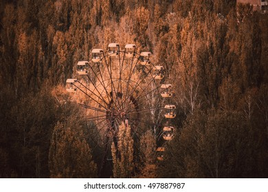 Panoramic wheel of Pripyat. Ruins of abandoned city. Chernobyl exclusion zone. Autumn at Chernobyl.