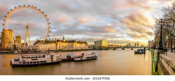 Panoramic wide angle London Skyline view of the Southbank London Eye and Westminster Bridge