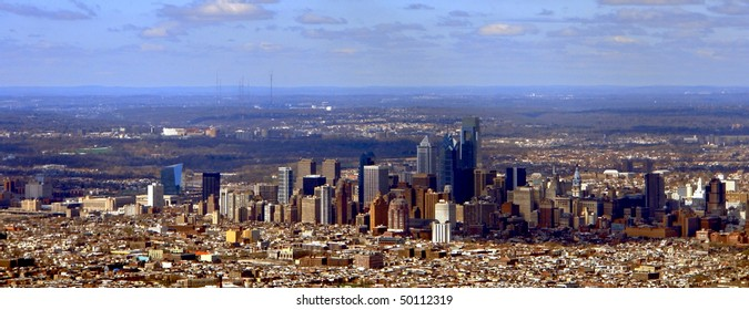 Panoramic wide cityscape view of Philadelphia Pennsylvania Downtown Center City (all visible signs and billboards have been blanked out)