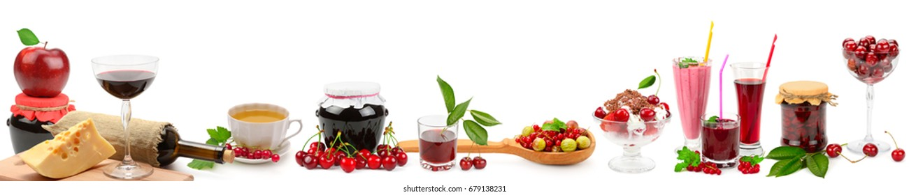 Panoramic wide collage for skinali. Fruit, drinks, healthy food