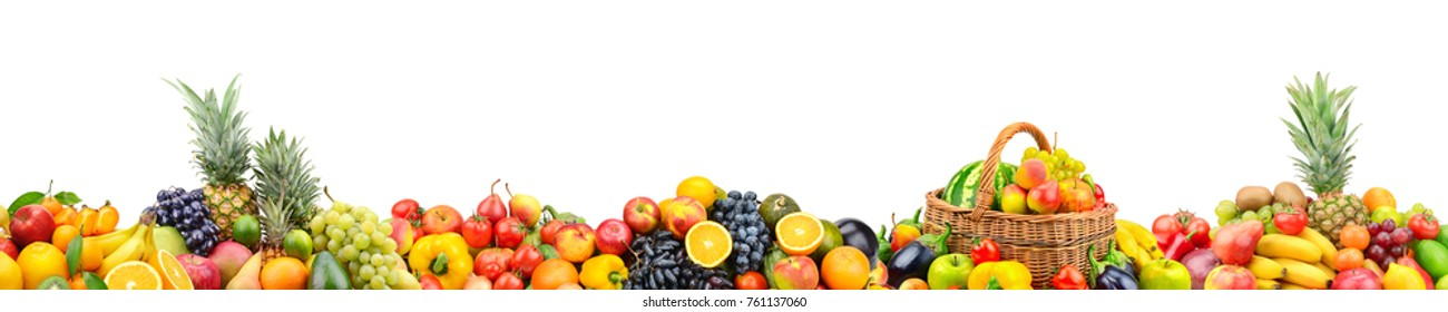 Panoramic wide photo with variety of fresh fruits and vegetables isolated on white background. Copy space.