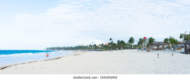 Panoramic wide view of the beautiful beaches in Punta Cana, Dominican Republic