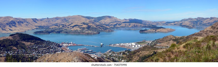 A panoramic wide view of Lyttelton Port and Harbour on an autumn morning from the Gondola at the top of the Port Hills, Christchurch, Canterbury, New Zealand.