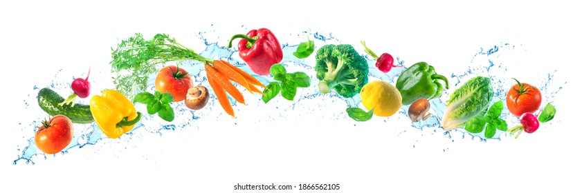 Panoramic wide white background with assortment of fresh vegetables and water splashes. High resolution collage for skinali