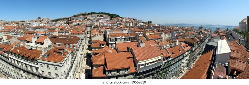 Panoramic wide-angle view over Lisbon Downtown from Elevador de Santa Justa