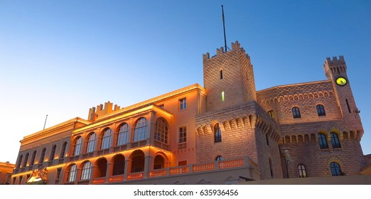 Panoramic wideshot of Prince's Palace of Monaco at dusk
