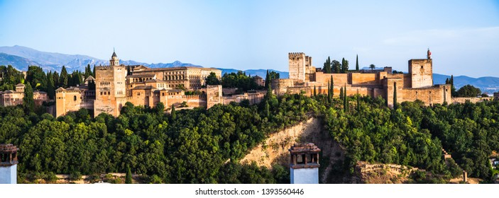 Panoramic Wiew of the Alhambra from Albaicyn, Granada, Andalucia, Spain
