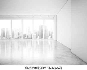 Panoramic windows in office interior with city view. 3d rendering
