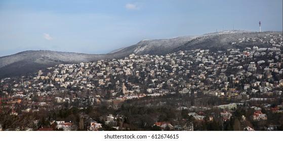 Panoramic winter shot of Buda-hills, Budapest, Hungary