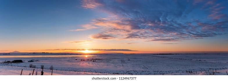 Panoramic winter sunrise landscape in Iceland