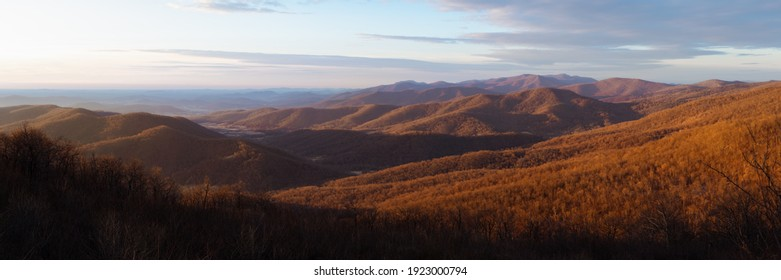 A panoramic winter sunrise of Shenandoah National Park taken from the Range View Overlook.
