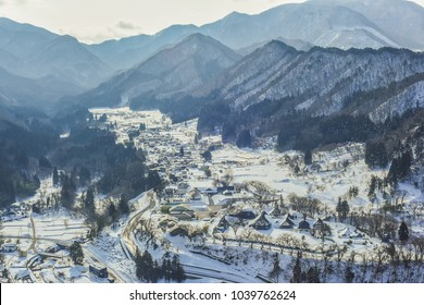 Panoramic Winter View of The Beautiful Village From The Observation Deck of Yamadera Risshakuji, Yamagata , Japan
