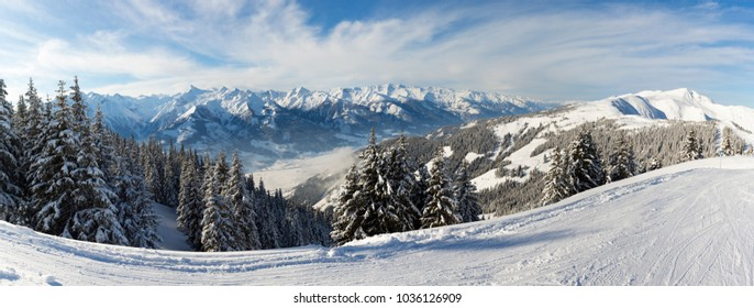 Panoramic Winter View of The Central Eastern Austrian Alps Seen From The Ski Slopes of Zell Am See in Austria