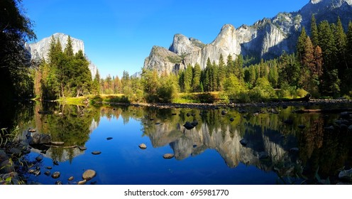 Panoramic Yosemite Valley view over the river with beautiful reflection, California, USA