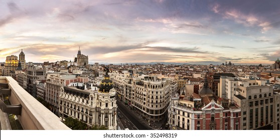Panoramical aerial view of Madrid in a beautiful summer night, Spain
