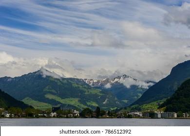 Panoramicc scenery from Lake Luzern