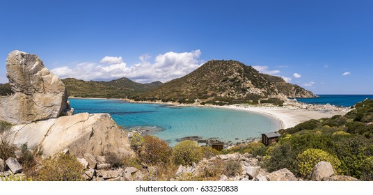 A panoramin view of beautiful beach at Punta Molentis, Villasimius, Sardinia, Italy