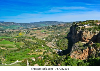 A panoramioc view of  Andalusia landscape, the valley , countryside road and rock in Ronda, Spain