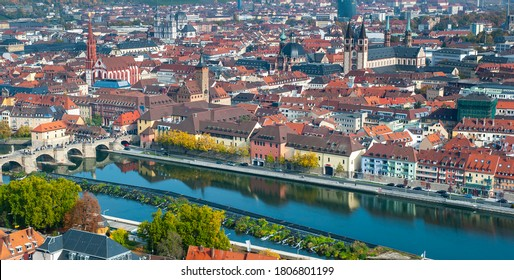 panoramiv view to medieval old town Wuerzburg at river Main in Bavaria, Germany