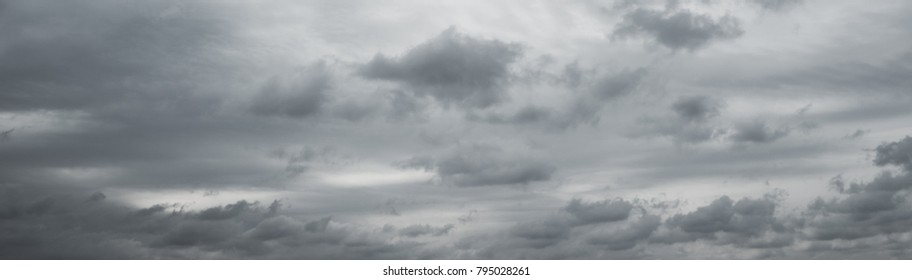 Panoranic gray overcast sky. Beautiful cloudscape over horizon, sky.