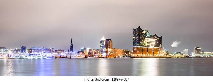 Panorma of the famous Elbphilharmonie and Hamburg harbor at night