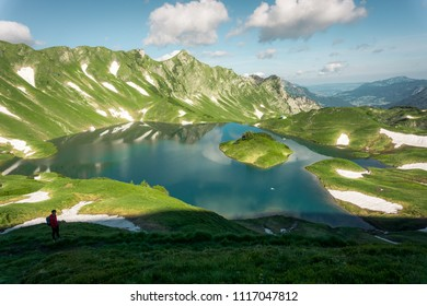 Panorma of mountain lake Schrecksee in Allgau Alps, Bavaria, Germany.