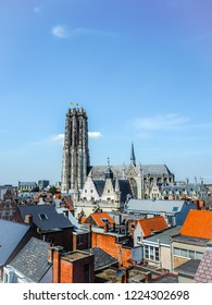 Panorma of the old town of Mechelen and the Saint Rumbold's Cathedral, in the province of Antwerp, Belgium