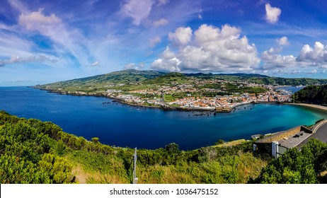 Panorma view on the city of horta on the island Faial Azores which is surrounded by the sea