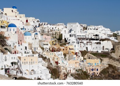 Panormaic view of the city of Fira with its cubiform buildings on Santorini Island, Greece.