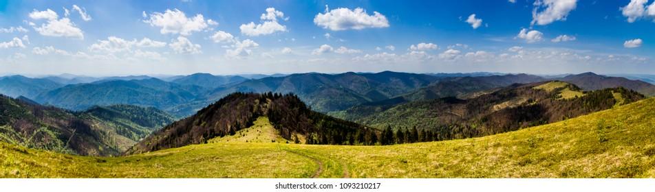 the panormic view of landscape of the carpathian mountains from peak of Parashka mount, national park Skolevski beskidy, Lviv region of Western Ukraine