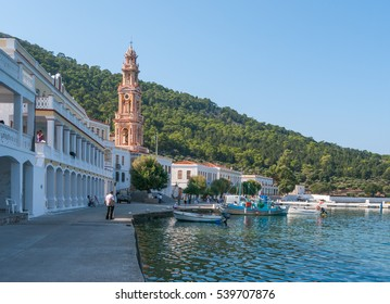Panormitis place seafront with a mountain view and the monastery of Archangel Michael, Simi - one of Dodecanese island, Greece