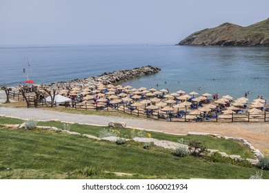PANORMO, CRETE, GREECE - MAY 13, 2017: 5 Star all-inclusive Hotel Club Marine Palace (375 rooms, bungalows, studios & suites). Club Marine Palace - complex built like a typical Cretan village. Beach.