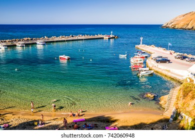 PANORMOS, CRETE - SEPTEMBER 17: Port at resort Panormos on September 2017 in Panormos