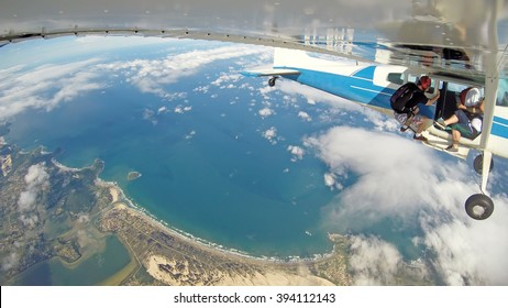 Panoroma of aerial view from the skydiver plane above Santa Catarina Coast, Brazil.