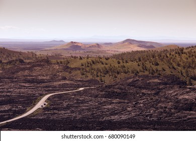 Panoroma view over Craters of the Moon National Monument & Preserve, Idaho, USA
