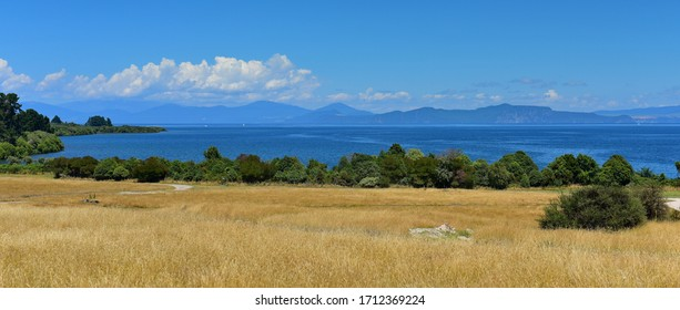 Panoroma view of a scenic bay of Lake Taupo in New Zealand