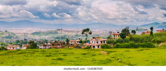 Panoromic aerial view of Kathmandu City Capital of Nepal,Bird Eye View Kathmandu City with himalayas mountains at the background,Top View of Kathmandu City.
