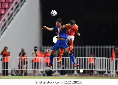Pansa Hemviboon No.3 (blue)  of Thailand in action during 2018The International Friendly Match between Thailand and China at the Rajamangala Stadium on June 2, 2018 in Bangkok,Thailand,