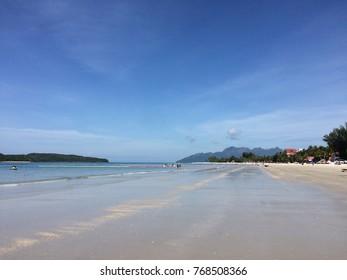 Pantai Cenang, Langkawi, Malaysia - December 2017: Empty beach