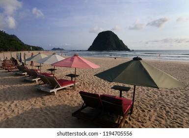 Pantai Pulau Merah (Red Island Beach) in Banyuwangi, East Java, Indonesia.