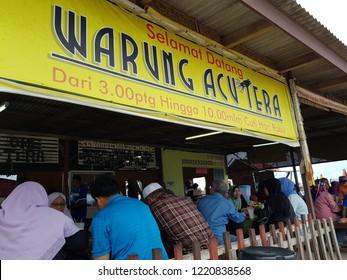 Pantai Sabak, Kota Bharu, Kelantan. October 7, 2018. Warung Acu Tera at Pantai Sabak which open from 3pm to 10pm, provides delicious afternoon meal to visitors at the beach