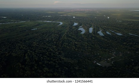 Pantanal, aerial view at Puero Geralda if rio Mamore.