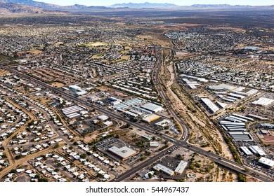 The Pantano Wash in Tucson, Arizona at 22nd Street and Pantano Parkway looking southeast from above