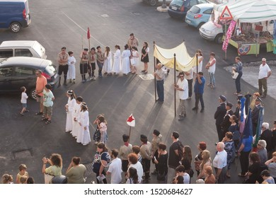 Pantelleria, Italy - June 23 2019: Corpus Domini has been celebrated with the traditional procession on the island main town.
