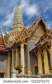 Pantheon of the Chakri Dynasty at Wat Phra Kaew, Bangkok, Thailand.