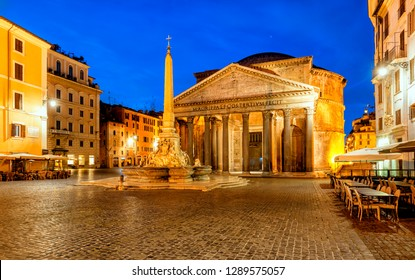 Pantheon at dawn in Rome, Italy. Temple of all the gods. Former Roman temple, now church, in Rome. Piazza della Rotonda.